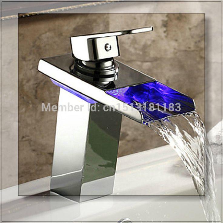 Купить товарL 92485 красивая из светодиодов водопад носик латунь хром на бортике ванной кран смеситель для раковины раковина нажмите бассейна кран смеситель в категории Смесители для умывальникана AliExpress.            &