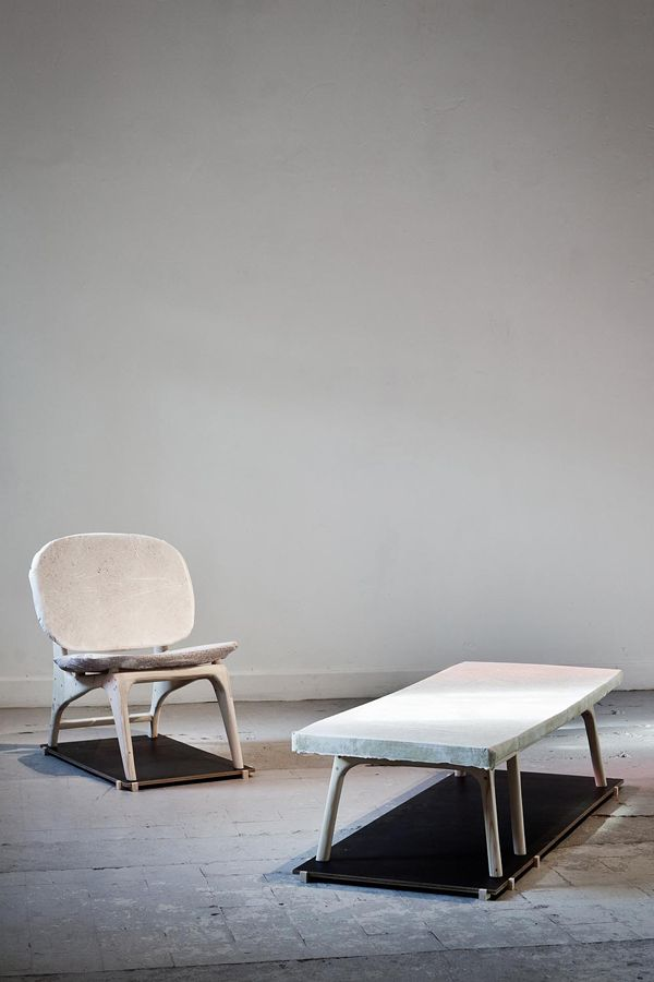 Dutch designer Dik Scheepers mixed discarded paper with cement to cast this series of furniture.