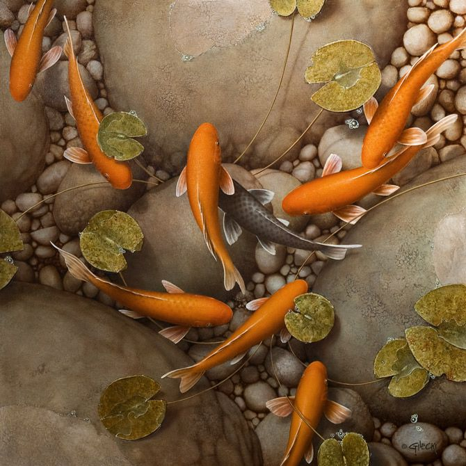 46 best images about terry gilecki on pinterest for Koi pond art