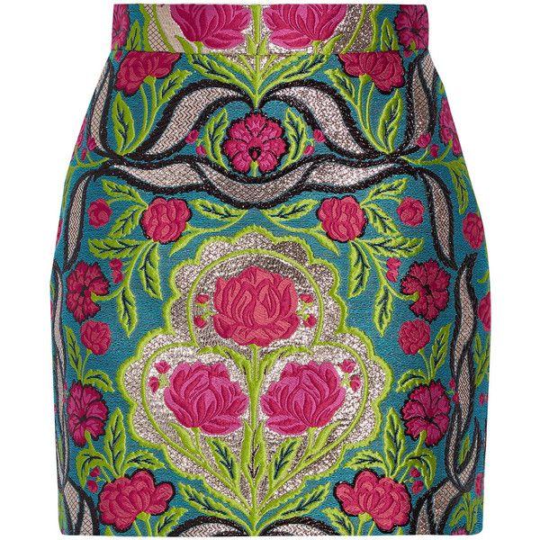 Gucci Metallic floral-jacquard mini skirt ($1,400) ❤ liked on Polyvore featuring skirts, mini skirts, saia, green, green mini skirt, polka dot skirt, floral skirt, jacquard skirts and metallic skirt
