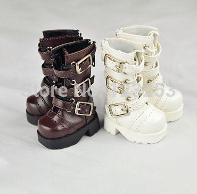 Livraison gratuite BJD chaussures garçon / fille chaussures Cool blanc / brun bottes courtes Shoes-YSD-013 pour YO-SD taille de poupée articulée(China (Mainland))