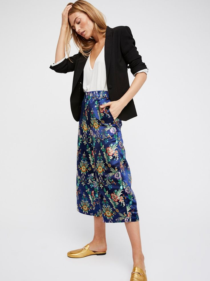 Mystic Valley Pull-On Pants | Luxe silky pants featuring a jacquard floral design.    * Hip pockets   * Mid-rise   * Pull-on style with an elastic waistband   * Cropped wide leg style   * Structed silhouette