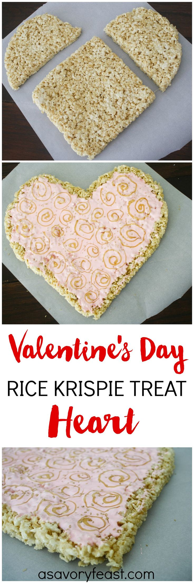 Treat someone special to this beautiful Valentine's Day Rice Krispies Treat Heart! It's a fun treat that is so easy to make. The classic Rice Krispies Treat recipe gets a romantic upgrade for the holiday. | Rice Krispies Treat Ideas | Rice Krispie Treat | #dessert