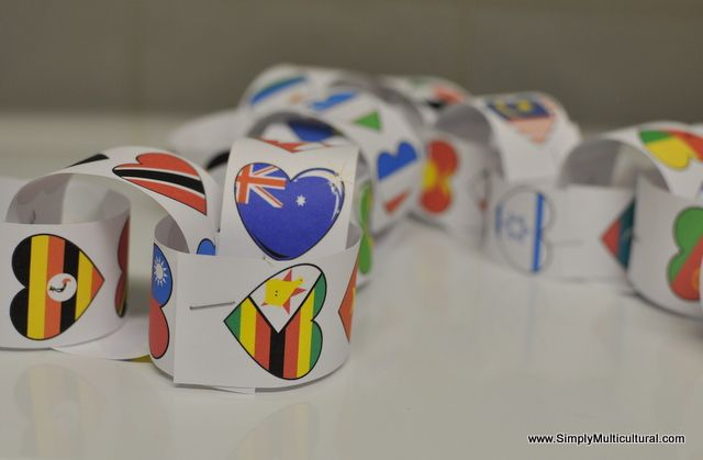 Multicultural Flag Heart Printable. Valentine's Day or Harmony Day