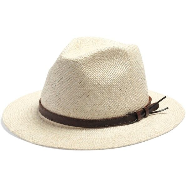 Brooks Brothers Panama Fedora with Leather Band (335 SAR) ❤ liked on Polyvore featuring men's fashion, men's accessories, men's hats, light brown, mens wide brim straw hat, men's brimmed hats, mens fedora hats, mens straw hats and mens hats