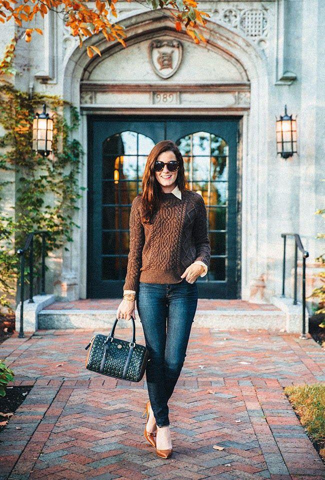 Sweater: Ralph Lauren Shirt: Ralph Lauren Jeans: J.Crew Bag: Tory Burch Shoes: Manolo...