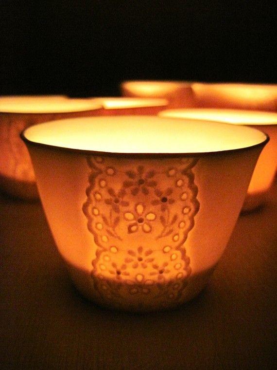 Porcelain Lace Cup Translucent Candle HolderHideminy by Hideminy #shopumbabox #handmade