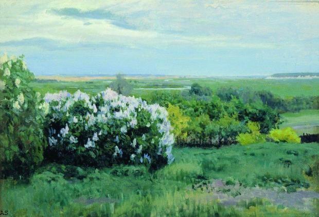Жуковский Станислав Юлианович - Весна. Кусты Сирени (1000х683). Нажмите для просмотра в полный размер.