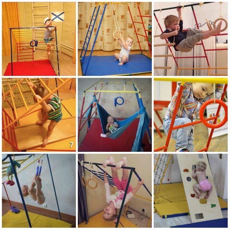 Et helt genialt klatrestativ for barn fra 0 til skolealder.  Denne modellen har 5 forskjellige posisjoner (like stabilt i alle posisjoner) og tar bare 1,5 m2 plass! Kan brukes ute om sommeren.