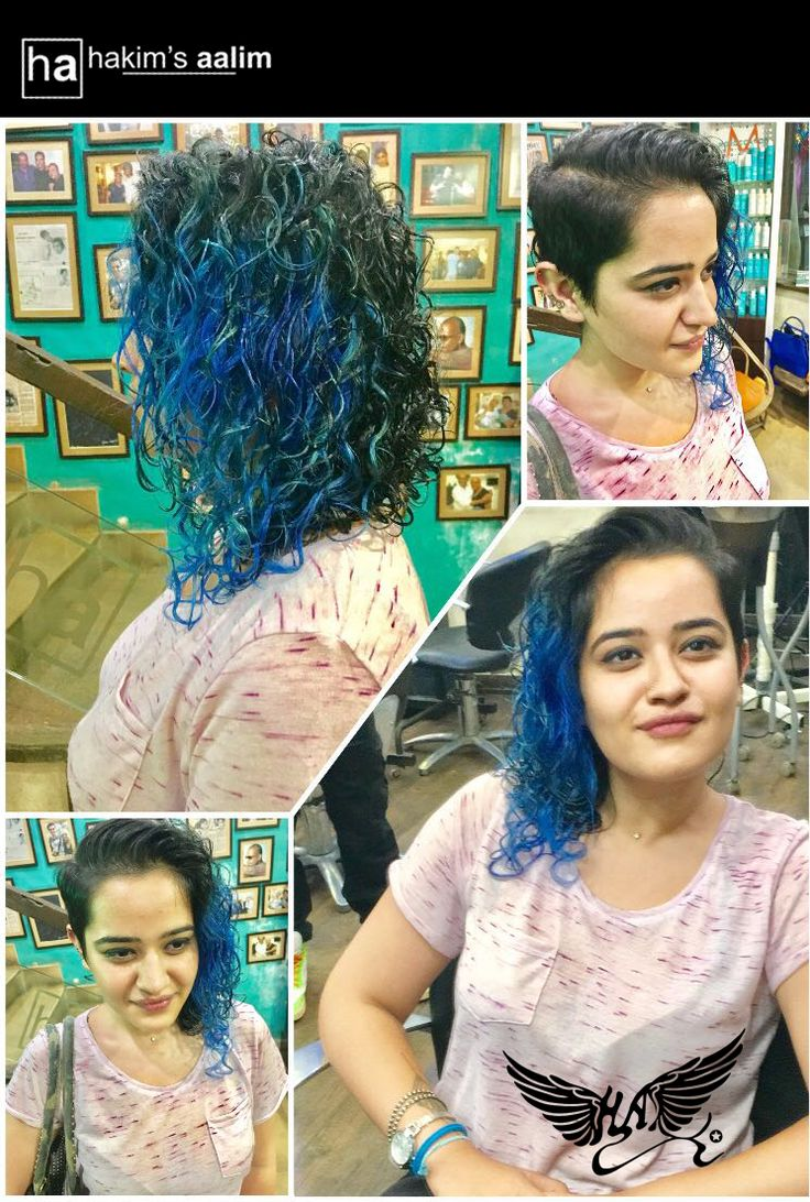 She pulls it off so beautifully. A side-kick haircut with an electric blue colour done in a diffused pattern to add that extra spunk in her attitude. Done by TUSHAR: Top Stylist   #hairstyles #haircolour #hairdye #hairdo #longhairdontcare #TeamHakimsAalim #HakimsAalimStyle