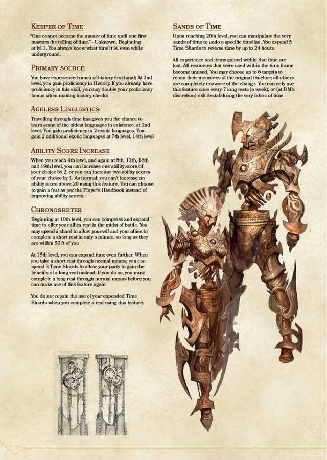 Chronomancer for Dnd 5e  in 2019 | Dnd | Dnd characters, Dnd classes