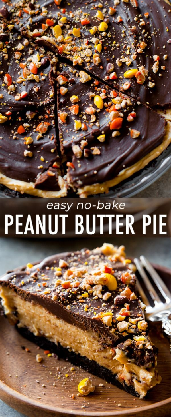 No bake peanut butter pie complete with Oreo crust…