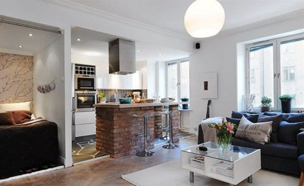 Amazing Tips For Decorate A Studio Apartment With Sectional Sofa Brick Kitchen Island Interior Decor - Decorteen