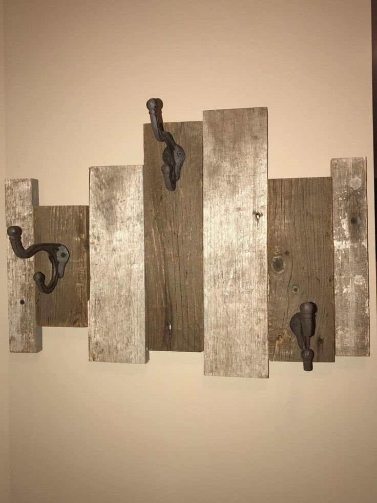 Barn wood coat hook. A little bit of barn wood can go a long way! Just a few pieces and some hooks makes for the cutest coat rack!Come in and Shop to build your own, buy one at the shop or hire us to build you one!  http://www.facebook.com/rusticrevivalbarnwood  #reclaimed #rustic #barn #wood #rusticrevivalbarnwood #minnesota #coathook