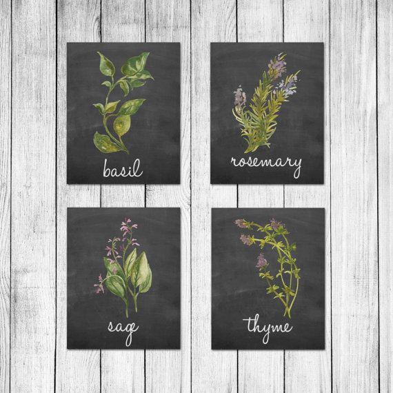 Watercolor italian herb chalkboard kitchen decor wall by for Italian kitchen prints