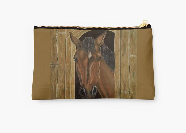 Studio Pouch,  cool,beautiful,fancy,unique,trendy,artistic,awesome,fahionable,unusual,accessories,for sale,design,items,products,gifts,presents,ideas,carry all pouch,brown,horse,equine,redbubble
