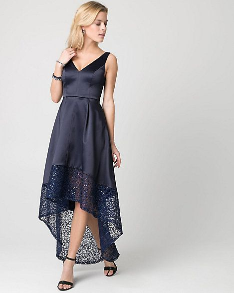 Lace+&+Satin+V-Neck+Gown