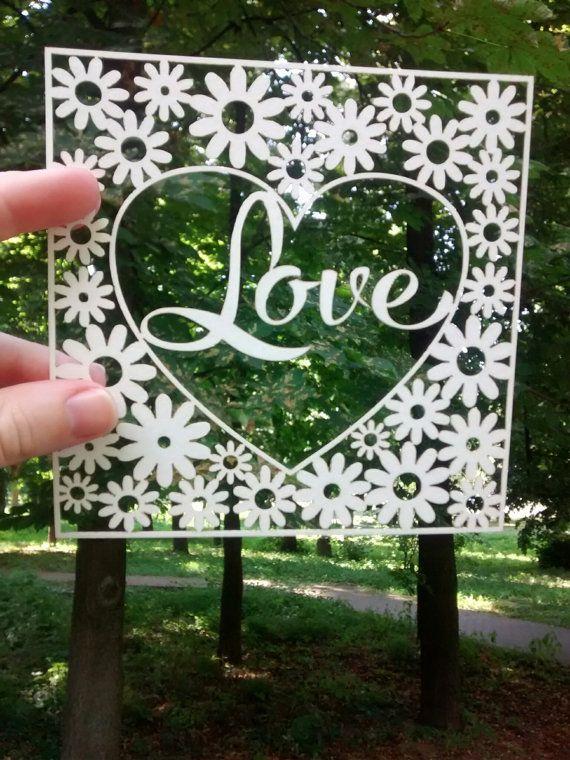 Любовта хартия рязане шаблон, DIY Любовта карта, сърце SVG Template, търговски и…
