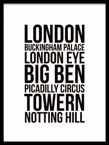 London tekstplakat. Vi har mange forskellige billeder og posters/plakater i høj kvalitet og til gode priser.