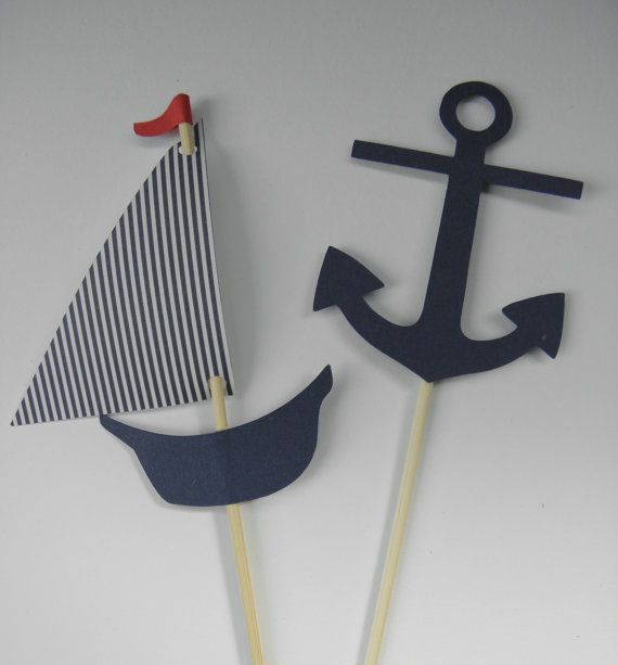 40 Sailboat and Anchor Nautical Cupcake Toppers for Mary