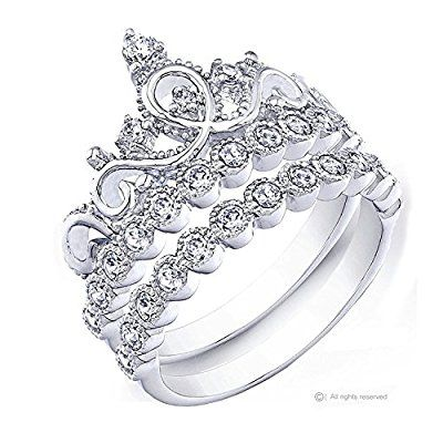 Rhodium-plated 925 Sterling Silver Crown Ring / Princess Ring and Band Set