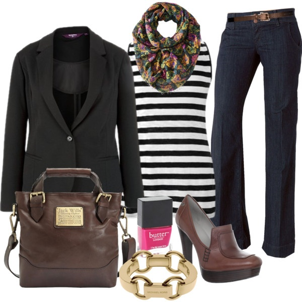 Stripes & A Scarf - Plus Size #plus #size