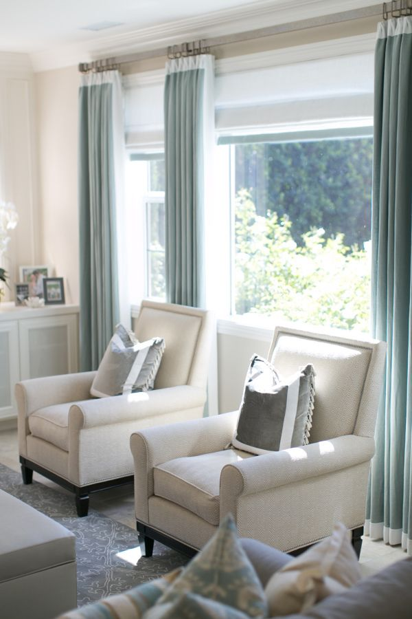 Neutral armchairs + gray-bue curtains: http://www.stylemepretty.com/living/2014/01/09/charlotte-hales-home-tour/ | Photography: Bryce Covey - http://brycecoveyphotography.com/