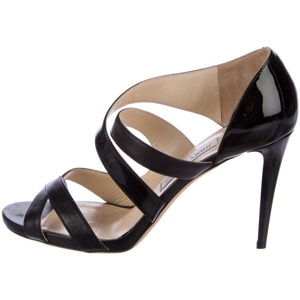 Pre-owned Jimmy Choo Leather Caged Sandals ($145) ❤ liked on Polyvore featuring shoes, sandals, black, black sandals, leather caged sandals, cage sandals, cut out shoes and black leather sandals