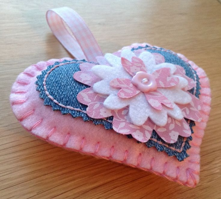Denim & Pink Felt Heart Flower Door Hanging Decoration