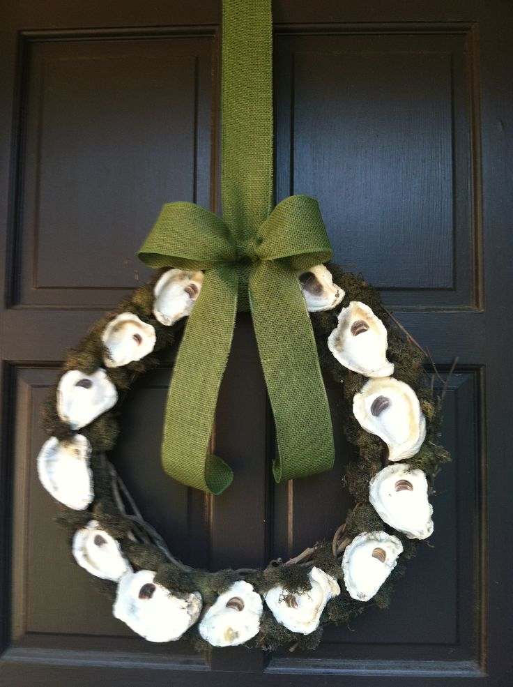 Oyster and moss grapevine wreath with burlap bow