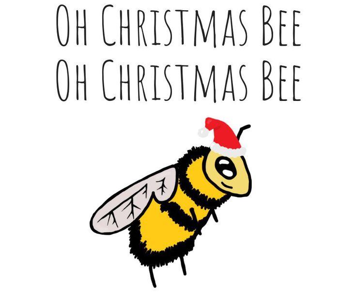 Christmas bee holiday card christmas tree santa