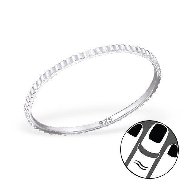 925 Sterling Silver Midi Ring Elegant Ridged Band US Size 3.5 Body Jewellery