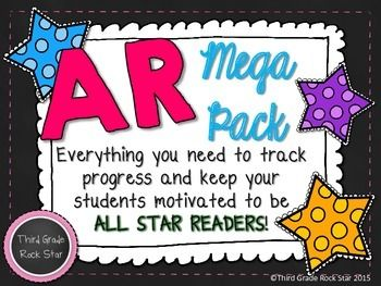 This AR Mega pack includes everything you need to keep your students motivated to read, read, READ and find success with Accelerated Reader!These can be used to create a fun AR bulletin board or clip charts for tracking student progress.This 36 page packet includes:*AR Superstars heading*100%, 75%, 50%, & 25% Club posters (can be used to create a clip chart)*5, 10, 15, 20, 25, 30, 40, 50, 75, 100, 150, 175, 200, 300, 400 & 500 Point Club posters (can be used to create a clip cart)*Reader