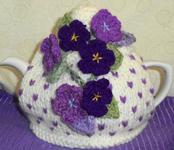 sweet violets ........ hand knitted and crocheted tea cosy....reduced price