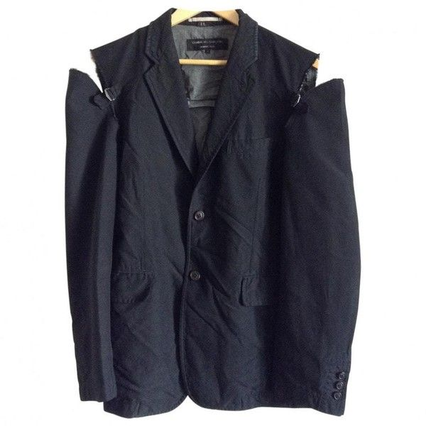 Black Polyester Jacket COMME DES GARCONS ❤ liked on Polyvore featuring outerwear, jackets, comme des garcons jacket and comme des garçons