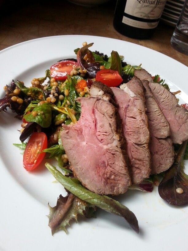 Lamb sirloin, pearl cous cous, date & olive salad