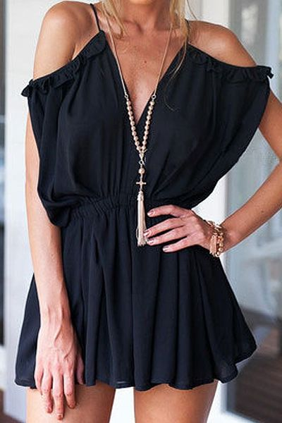 Solid Color Flounce Splicing Backless Romper