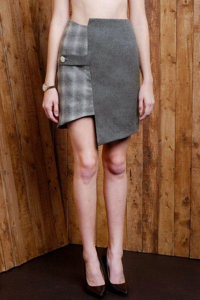 Two-two Asymmetric Wool Blend Pencil Skirt
