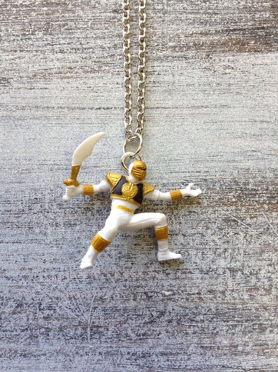 mighty morphin power rangers white ranger charm silver