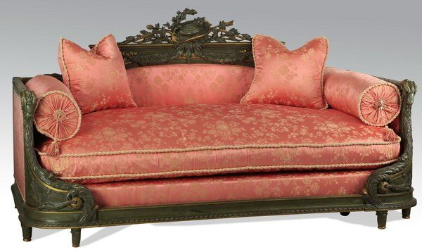 Louis XVI style daybed w/ silk upholstery : Lot 1008