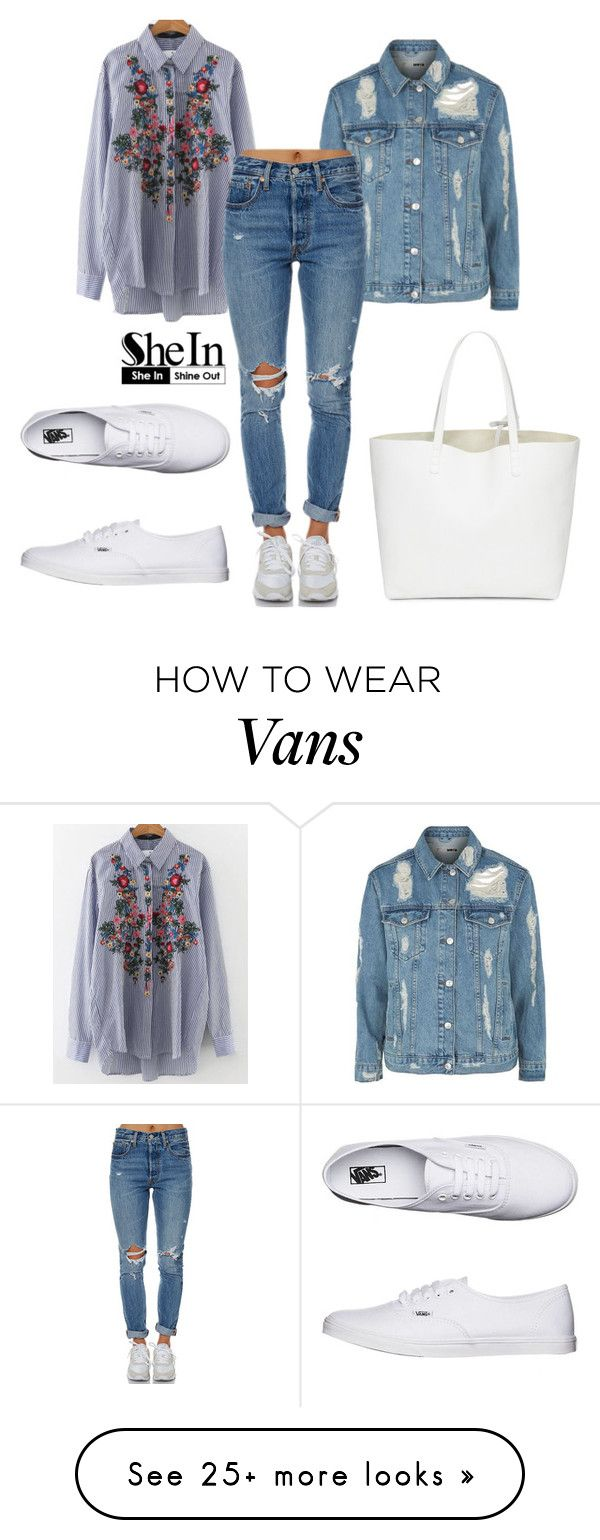 """SheIn Blouse"" by jappleb on Polyvore featuring WithChic, Topshop, Levi's and Vans"