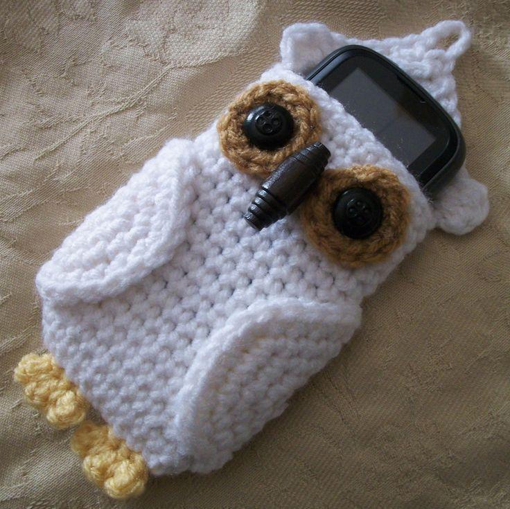 Owl Cell Phone Cozy.  Free Crochet Pattern