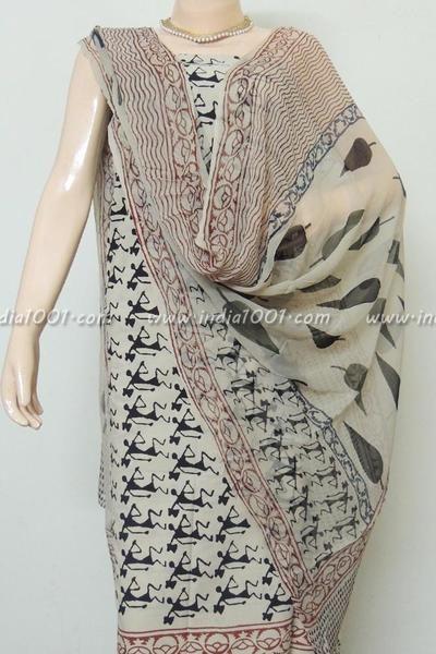 Beautiful Bagru Block Printed Cotton unstitched suit fabric