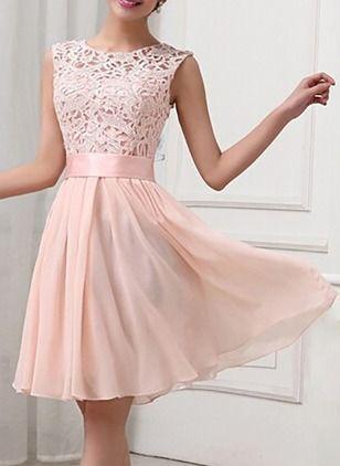 eb83b914a Vestidos Chifón Elegante Hasta las rodillas Sin mangas Liso Encaje Ahuecado  (1033005)