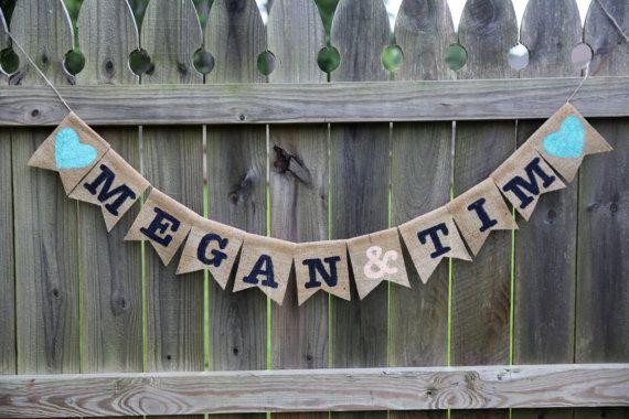 Mr. and Mrs. Banner / Engagement Banner / Custom Burlap Banner