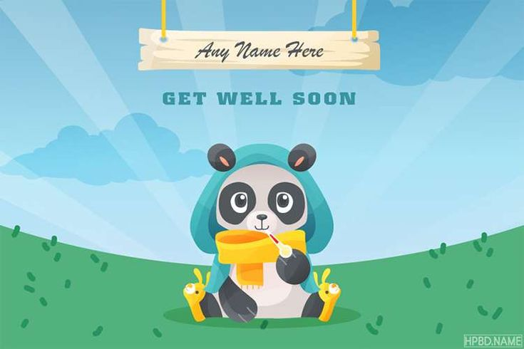 funny get well soon panda card with name generator in 2020