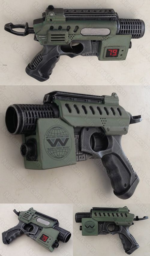 Aliens Colonial Marines Nerf Nite Finder Blaster Pistol Mod baby M41A Because I love Aliens and Alien and I can never do enough Aliens inspired mods.. that's why ;p