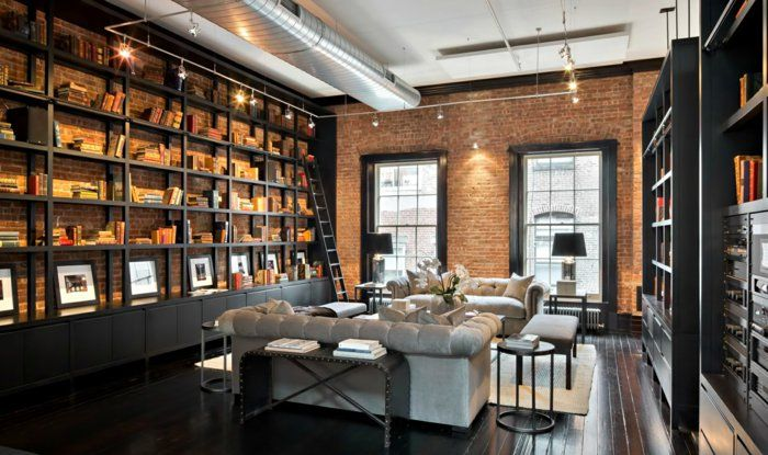 appartement-new-yorkais-chic-loft-une-grande-bibliothèque