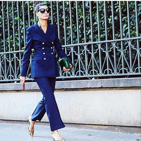 Giovanna Battaglia in Ermanno Scervino FW 2015-16 tailored suit for #ScervinoLive during MFW photo by: @theurbanspotter Regram @netaporter #ErmannoScervino