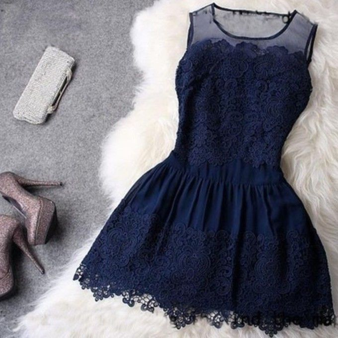 2014 Modest Simple Short Dark Blue All-over Appliques Tulle Homecoming/Prom Dresses $84.89